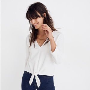 Madewell Texture & Thread Tie-Front Top Small
